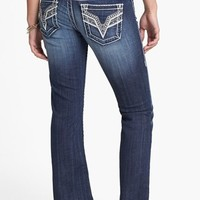 Vigoss Contrast Stitch Studded Pocket Bootcut Jeans (Dark) (Juniors)