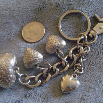 "Silver Tone Vintage 6"" Key Chain w/ Embossed Hearts, Large Lobster Claw Clasp and Circular Loop for Keys  --Q09"