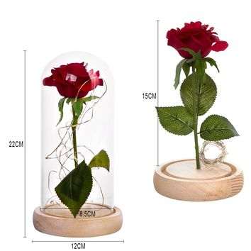 1Pcs Beast Red Rose Flower Vase Party Decorations In Glass Dome Wooden Base Valentine's Day Christmas Mother's Day Gifts