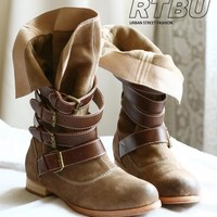 Genuine Suede Khaki Slouch Buckle Strap Pirate Boot 40