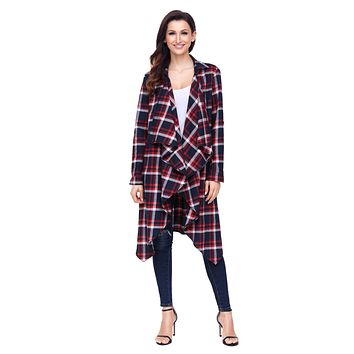 Chicloth Red Hipster Plaid Draped Open Front Cardigan