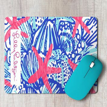 Rectangle Mouse Pad She She Shells Lilly Pulitzer Pattern