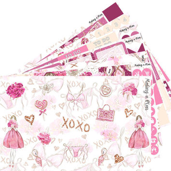 Sweet Romance Weekly  Vertical Kit Planner Stickers for use with ERIN CONDREN LIFEPLANNER