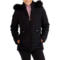 Faded Glory Women's Fashion Puffer Coat With Fur-Trimmed Hood - Walmart.com