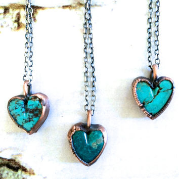 Turquoise heart necklace | Valentine gift | Valentines necklace | Turquoise heart pendant | Perfect Valentine