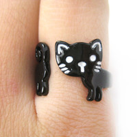 Adorable Kitty Cat Shaped Cartoon Animal Wrap Around Ring in Black | DOTOLY