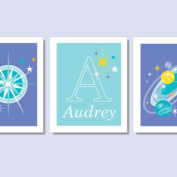 Science Art for Girls: Customized space-themed printables; download 3 8x10 prints; purple and aqua; nursery wall art