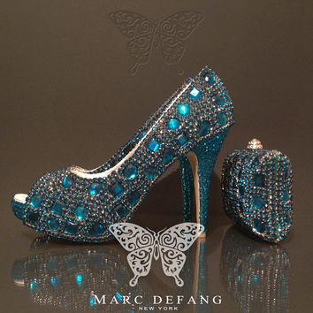 Peacock blue crystal snow diamond, Luxury shoes and purse SET