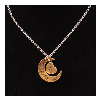 X329 love Valentine's Day love couple of European and American moon necklace ebay jewelry supply   UNCLE GOLD