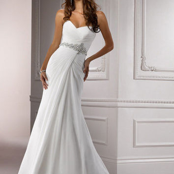 Ivory Ruched Chiffon Strapless Sweetheart Beaded Empire Waist Courtney Wedding Dress - Unique Vintage - Cocktail, Evening, Pinup Dresses