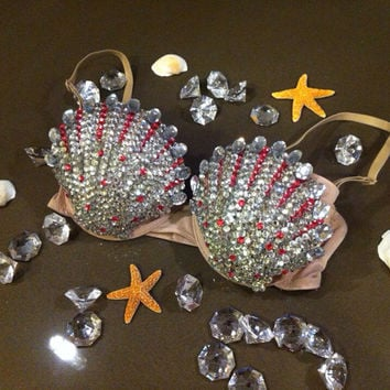 Lady Gaga ARTPOP Rhinestone Glitter sea shell bra - Mermaid costume - lingerie - Made to Custom Order - swinefest