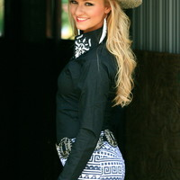 BLACK ELEGANT RHINESTONE FITTED RODEO SHIRT
