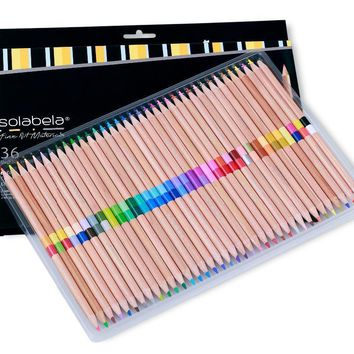 Solabela 72 Colors 36 Pcs/Set  Safe Non-toxic Pencil Set For Write Drawing Art Supplies Colored Pencils Natural Wooden Pencils