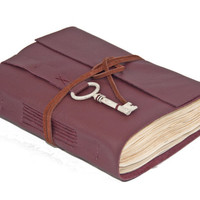 Burgundy Leather Journal with Tea Stained Paper and Key Bookmark  - Ready To Ship