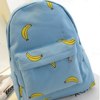 ♡ Cute Banana Pattern Print Backpacks for Traveling Outdoor School Bag ♡