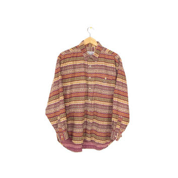 90s grunge velvety corduroy psychedelic shirt - vintage 1990s tribal pattern - long sleeve button down - mens large