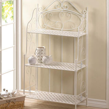 Bakers Rack-White Iron Basket Weave--Only 6 Left!