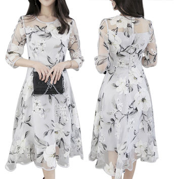 Summer Women Dresses Elegant  Organza Floral O-Neck Sexy 3/4 Sleeve Slim Long Party Dress DM#6
