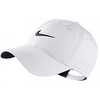 Nike Classic Golf Sun Cap Hat Dri-Fit Unisex Adjustable OSFM, Velcro Closure -White/Black