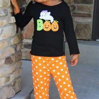 Halloween Outfit, Polka Dot Halloween Outfit, Girls Personalized Halloween Outfit, Boo, Ruffle Pants, Ghost Outfit, Personalized, Pumpkin