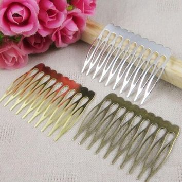 30PCS 40*53mm  10Teeth Metal Hair Comb Claw Hairpins   (Nickel/Gold/Bronze) Free shipping DIY Jewelry Findings&Components