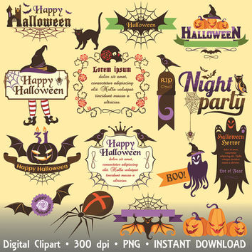 Halloween Clipart Commercial Use Happy Halloween Clip Art Set Scrapbooking Invitations Printable Digital Graphics INSTANT DOWNLOAD 300 dpi