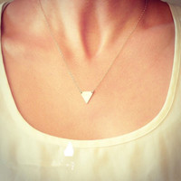 1pc fashion jewelry vintage simple metal triangle delicate gold tone layers clavicle chains choker womens Necklace colar