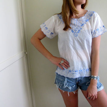 Vintage White See Through Linen Peasant Style Blouse White Blue