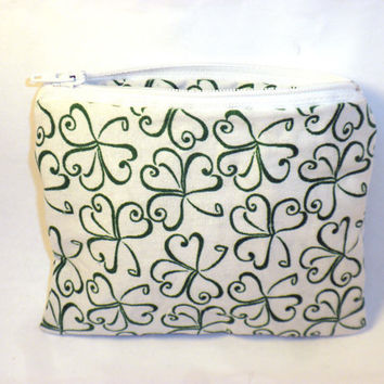 Irish change purse shamrock zipper pouch st by redmorningstudios
