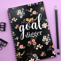 Writing journal, spiral notebook, bullet journal, cute sketchbook, black floral notebook, blank lined grid paper - Goal Digger