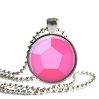 Steven Universe Rose Quartz Gem 1 Inch Silver Plated Picture Pendant 24 Inch Necklace