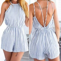 Blue Stripe Strappy Back Romper