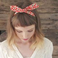 Retro Dots twist headband. Red, Beige and Black Oblong Dots. Retro. Boho. Bohemian. Trendy. Dolly.