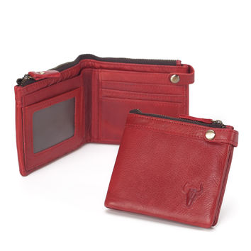 Ladies Leather Vintage Handcrafts Red Wallet [9026229891]