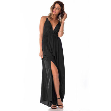 Deep V-Neck Strappy Back Side Slit Chiffon Maxi Dress