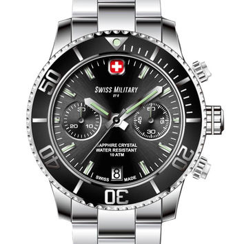 Swiss Military by R 09502 3N N Alpha Men's Watch Chronograph Black Dial