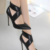 Black Cross Strap Detail Pointed High Heels