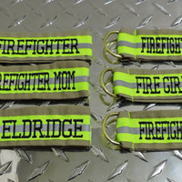 Personalized Firefighter Key chain 1 side personalized Tan, turnout key chain, firefighter key fob, firefighter gift,bunker gear