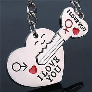 Novelty Casual Couple Love Keychain Cartoon Key chain Lovers Key ring Women Wedding Jewelry Accessory Valentines Gift