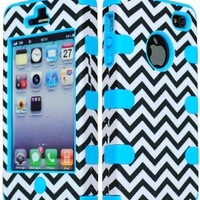 iPhone 4 Phone Case, Bastex Hybrid Model Baby Blue Silicone Cover with Black & White Chevron Pattern Hard Case