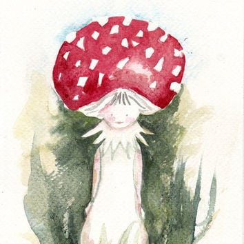 Mushroom, fairy tale, original watercolor painting art, woodland, nursery , Autumn, Fall.