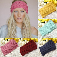 Hair Accessories Winter Geometric Crochet Knitted Headwrap Headband Ear Warmer Hair Muffs Band