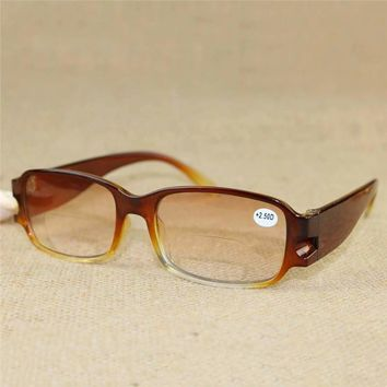 Men And Women Reading Glasses Hot Fashion Brown Magnetic Nano Hyperopia Bifocal Reading Glasses 040