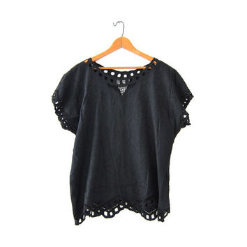 Vintage black Bali cut work shirt. Oversized boxy shirt. Floral embroidered top. Cut out slouchy top.