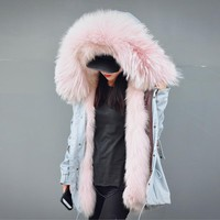 Hot, 100% Detachable Fox Fur Linning  Big White Raccoon Fur Trimming Overcoat Fur Coat BE-1627 EMS Free Shipping