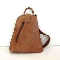 vintage brown leather Graffeo rucksack. leather backpack. shoulder bag.