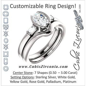CZ Wedding Set, Style 04-43 feat The Stephanie engagement ring (Customizable Bezel And Baguette)