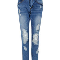 Blue Boyfriend Rip & Zippered Jeans