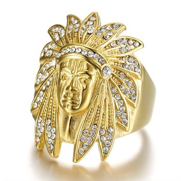 Fashion Biker Stainless Steel Ring with Rhinestone Men Tribe Apache Indian Chief Head Ring Size 8-13 Punk Rocker Figure Jewelry