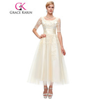 Grace Karin Mother Of The Bride Dresses With Sleeves Lace Tulle Evening Party Dress Plus Size Elegant Tea Length Formal Gowns